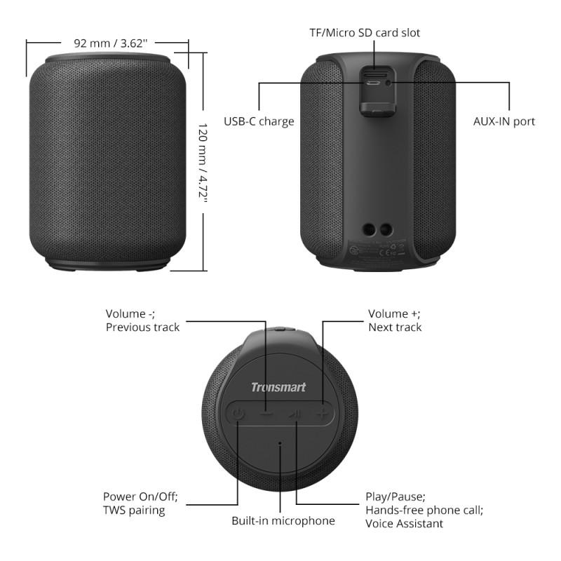 2 Tronsmart Element T6 Mini Bluetooth Wireless Speaker Pakistan brandtech.pk